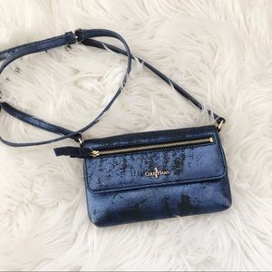 Cole Haan Metallic Blue Aged Leather Look Bag